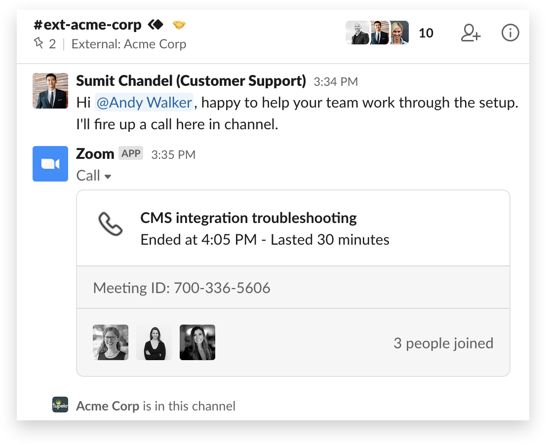 A Zoom call in Slack Connect