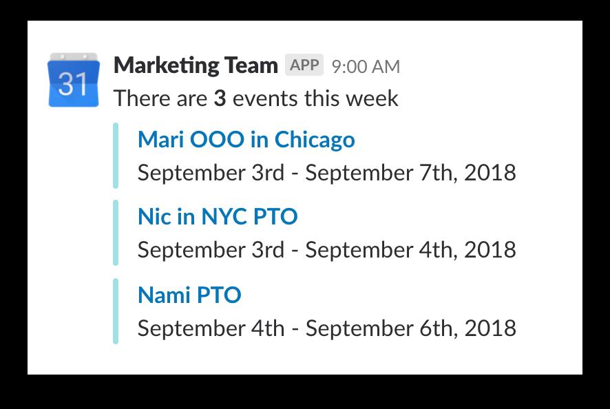Slack screenshot showing a Google Calendar update listing events