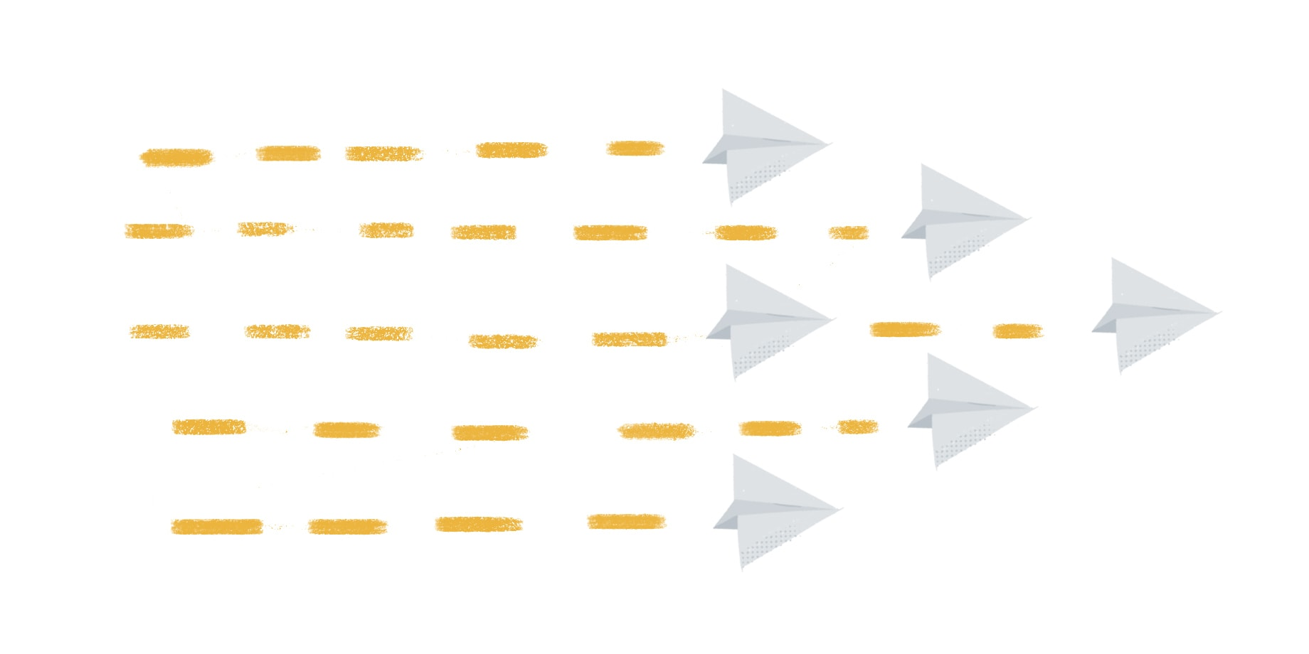 Une stratégie de communication interne solide commence par un partage en toute transparence de l'information de la part de l'équipe dirigeante, comme le montre cette image d'avions en papier volant dans le même sens