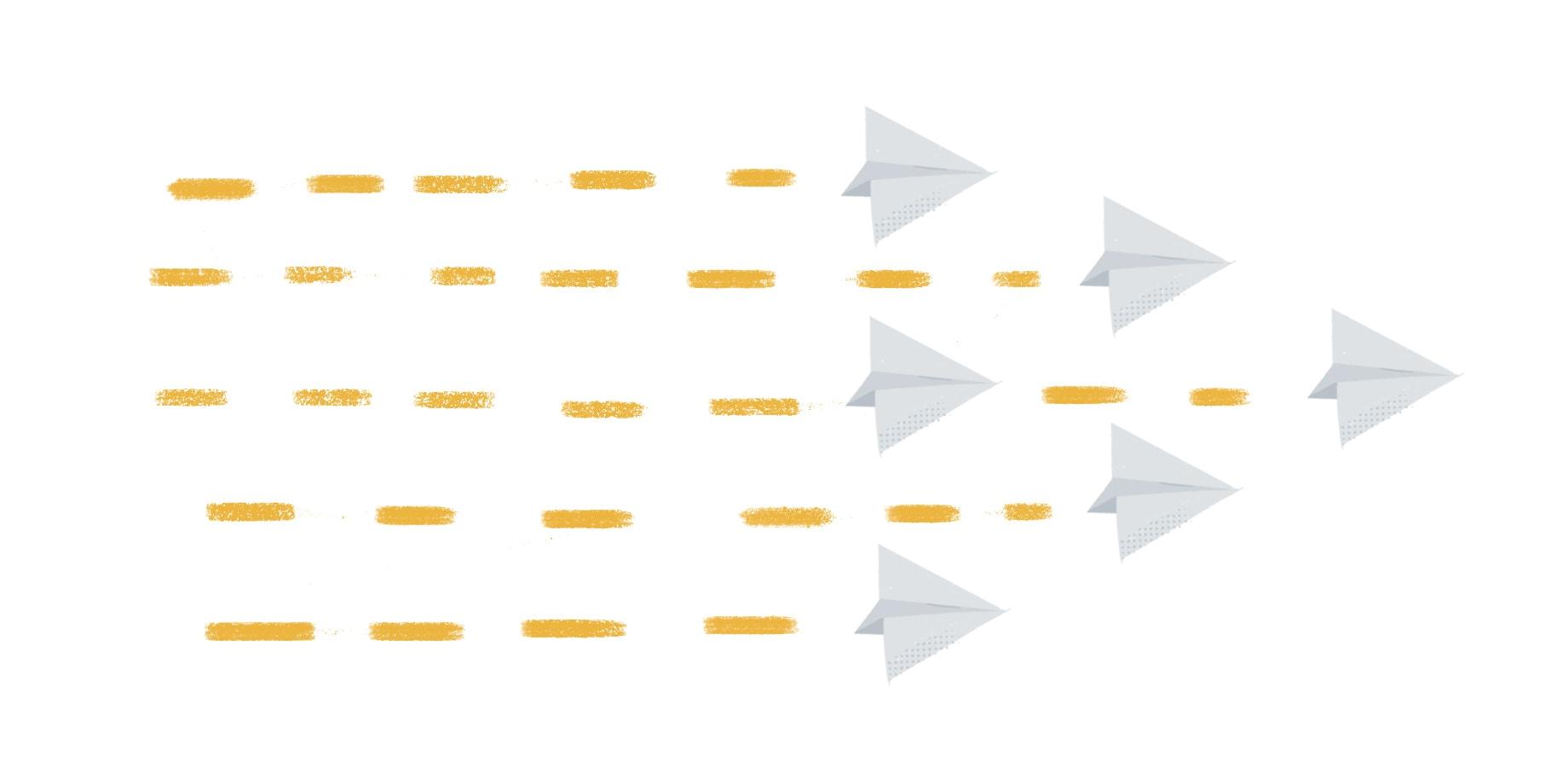 同じ方向に飛んでいる紙飛行機の画像が表すように、強力な社内コミュニケーション戦略はリーダーが透明性をもって情報共有することから始まります