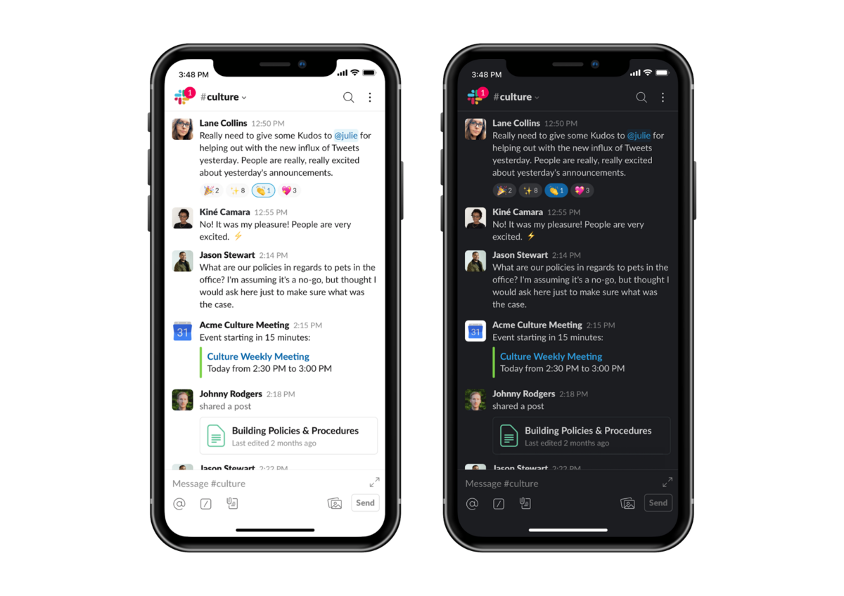 Dark mode on Slack mobile