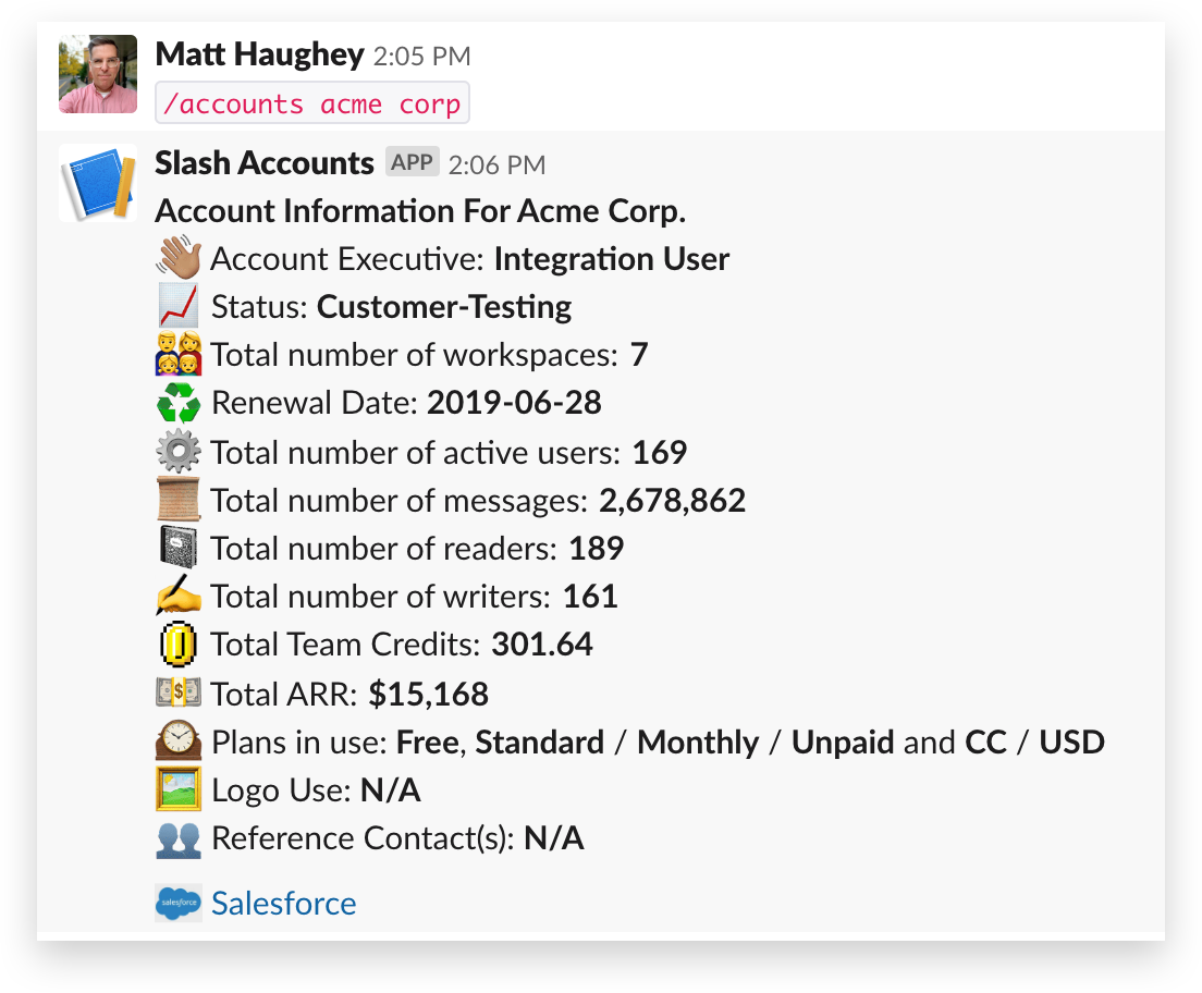 Accounts slash command in Slack