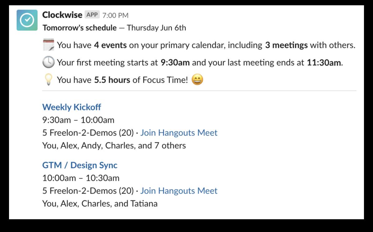 Clockwise schedule app for Slack