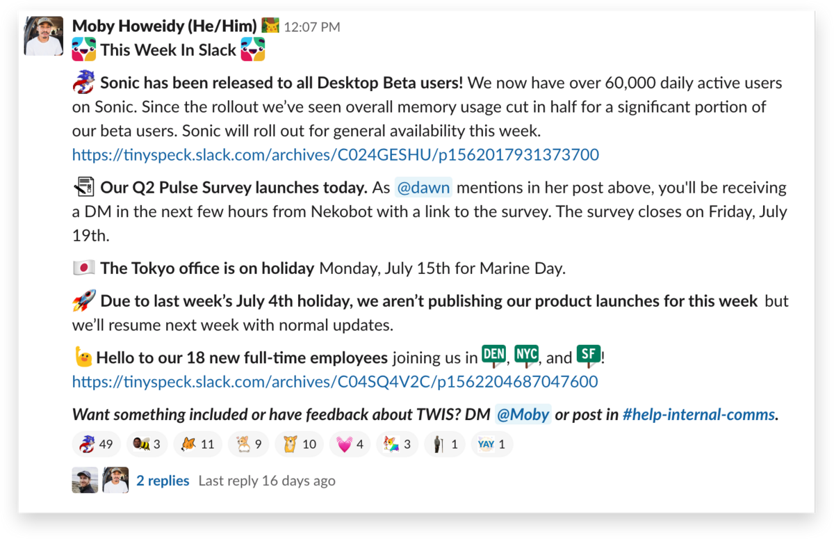 An example announcement from an Internal Communications team in Slack