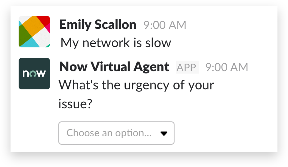 A ServiceNow ticket in Slack