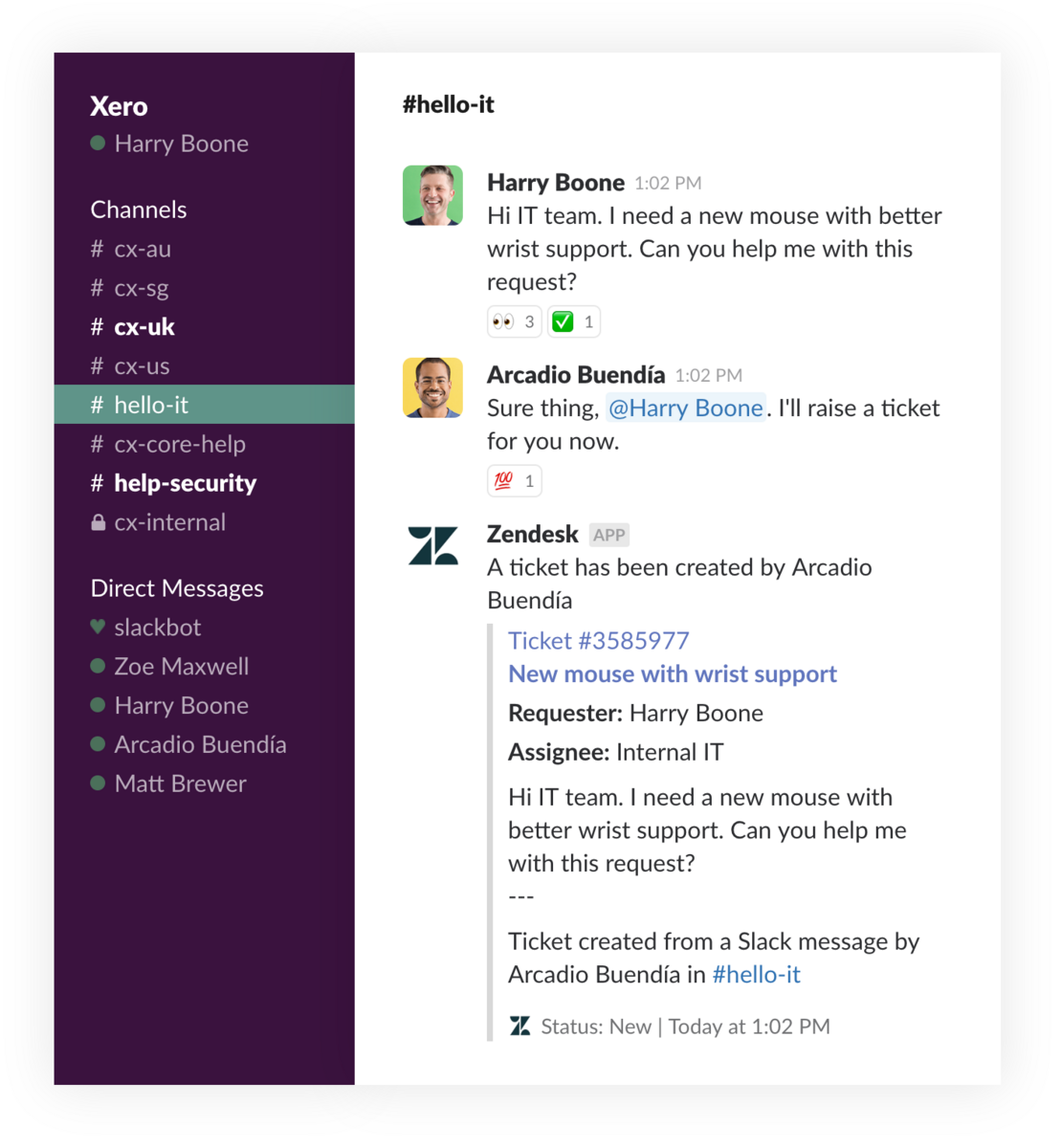 Zendesk IT help desk ticket in Slack
