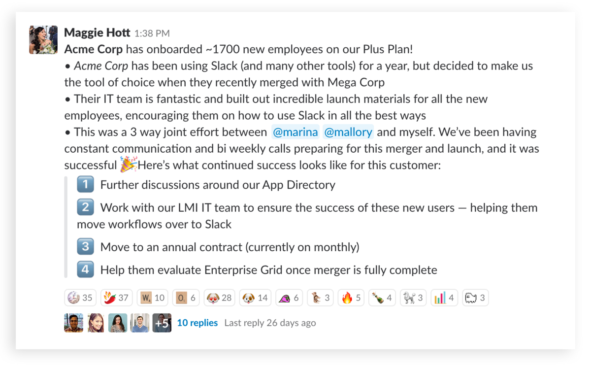 A well formatted message to the Sales team in Slack