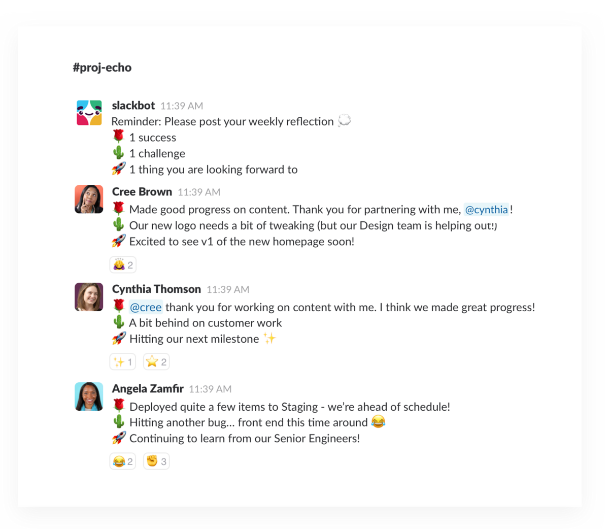 Formatting a weekly standup message in Slack