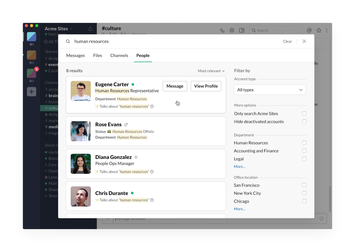 Find your coworkers in Slack with people search