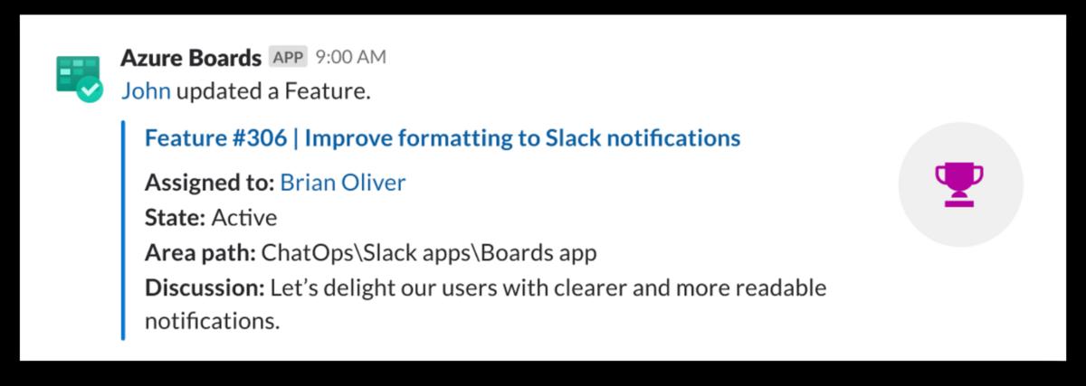 Azure Boards for Slack example