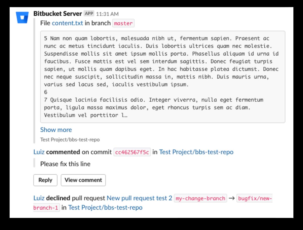 Bitbucket Server app for Slack