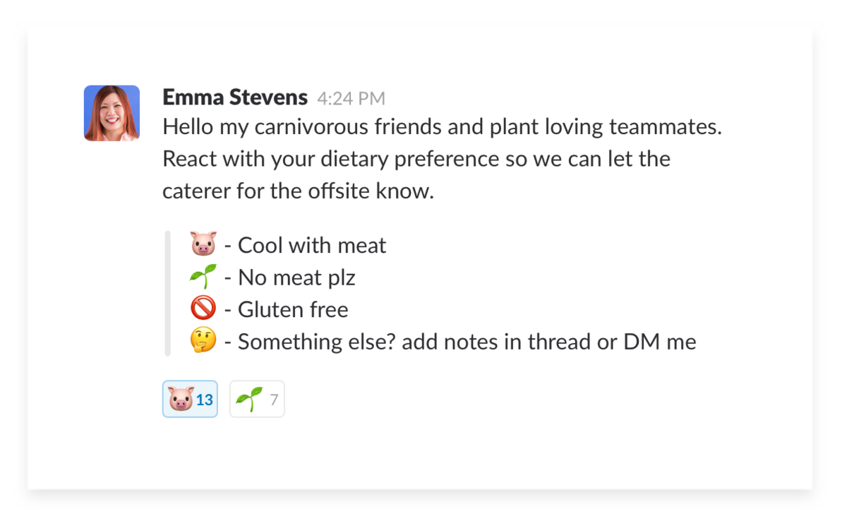 Using emoji in Slack for a team poll in channel