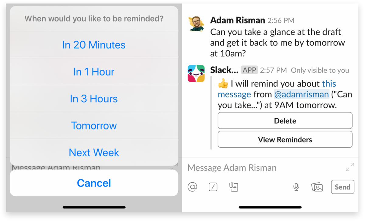Setting a reminder on the Slack mobile app