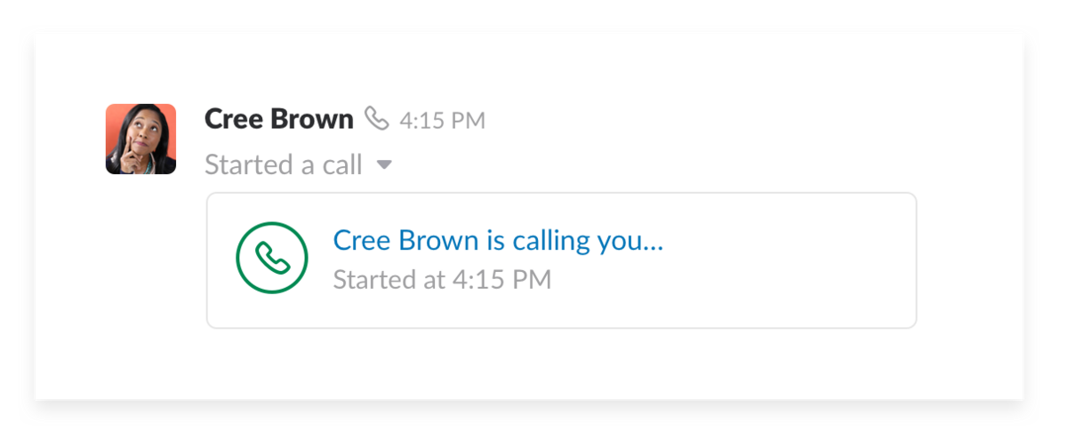 A video call in Slack