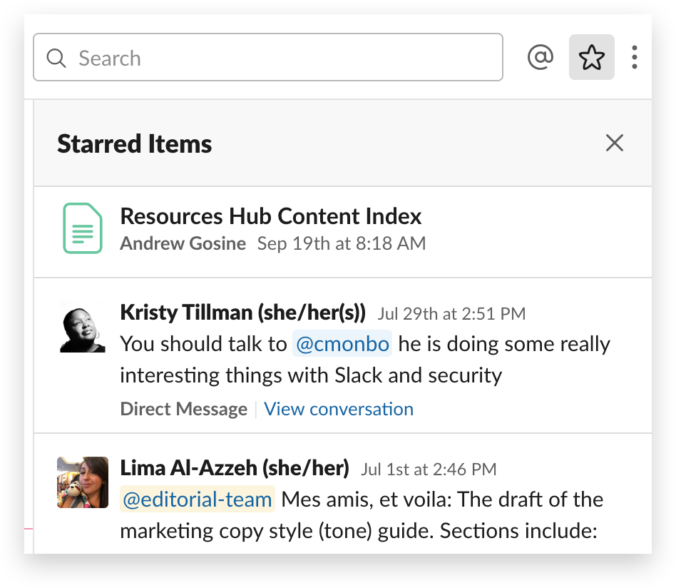 A list of starred messages in Slack