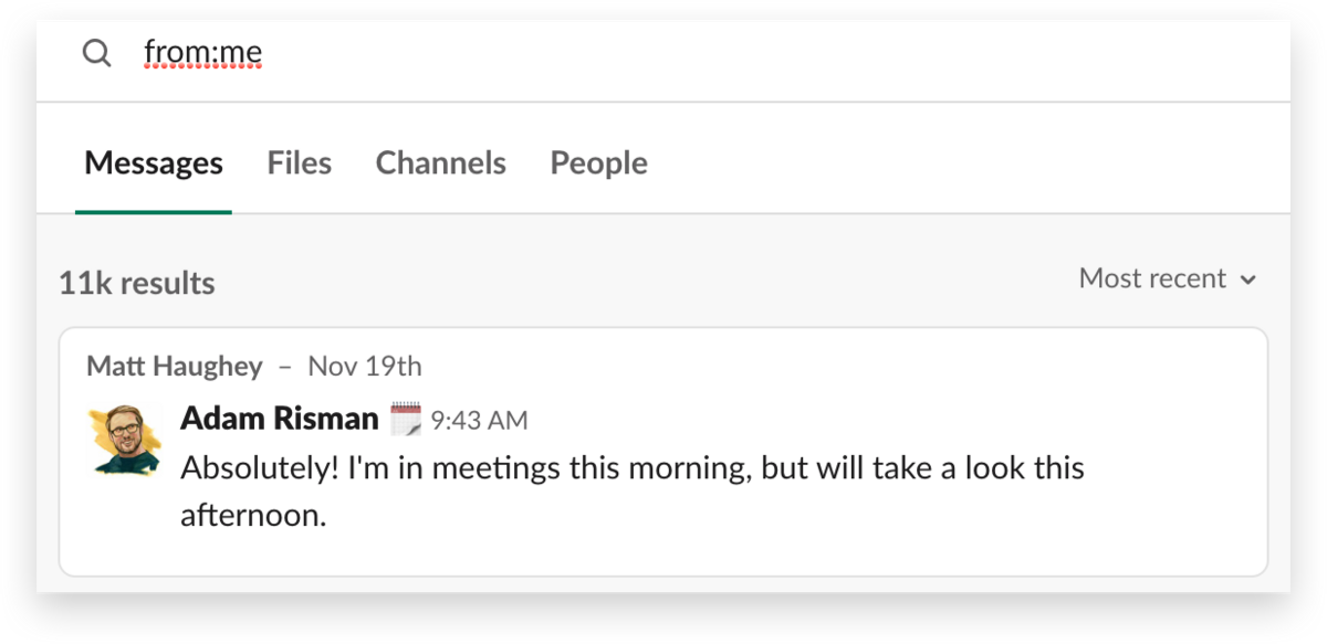 A search for direct messages you've sent in Slack