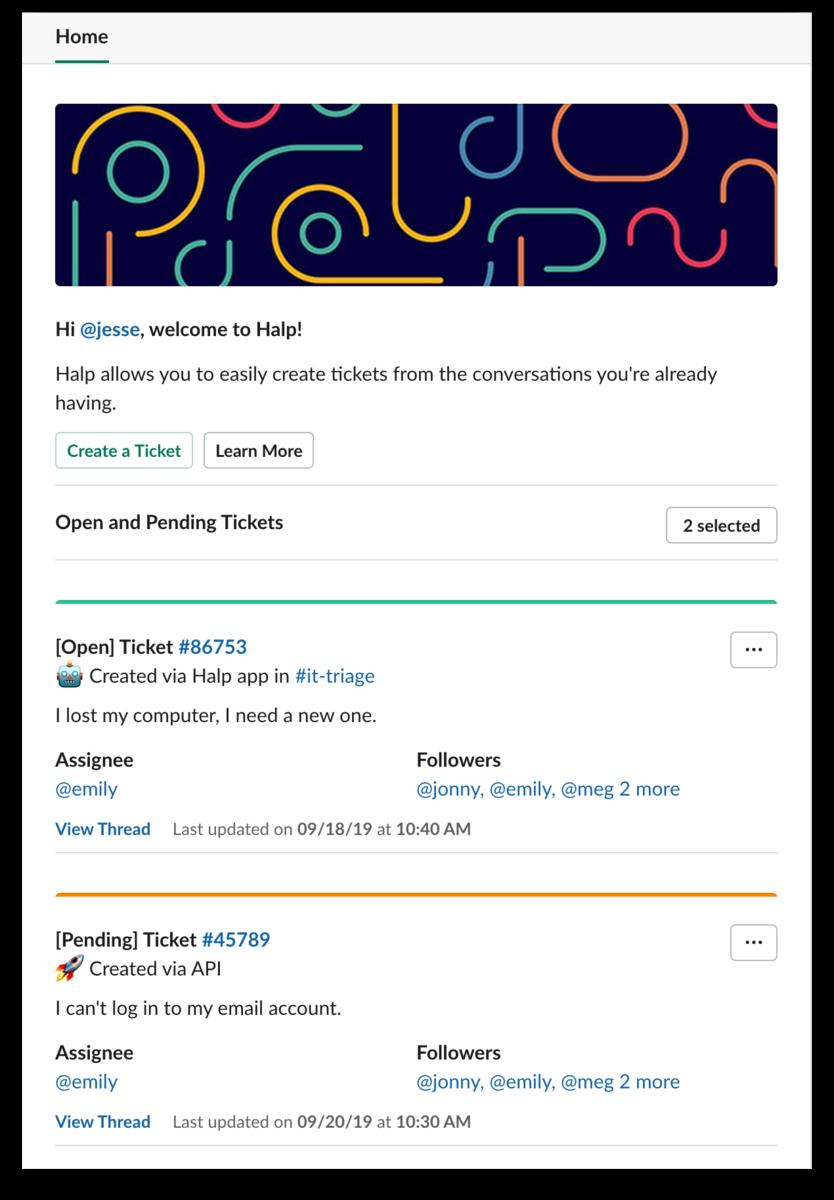 App home for the Halp app for Salck