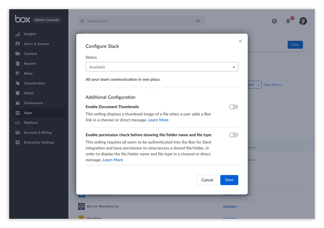 A screenshot showing admin controls in the new Box app for Slack.
