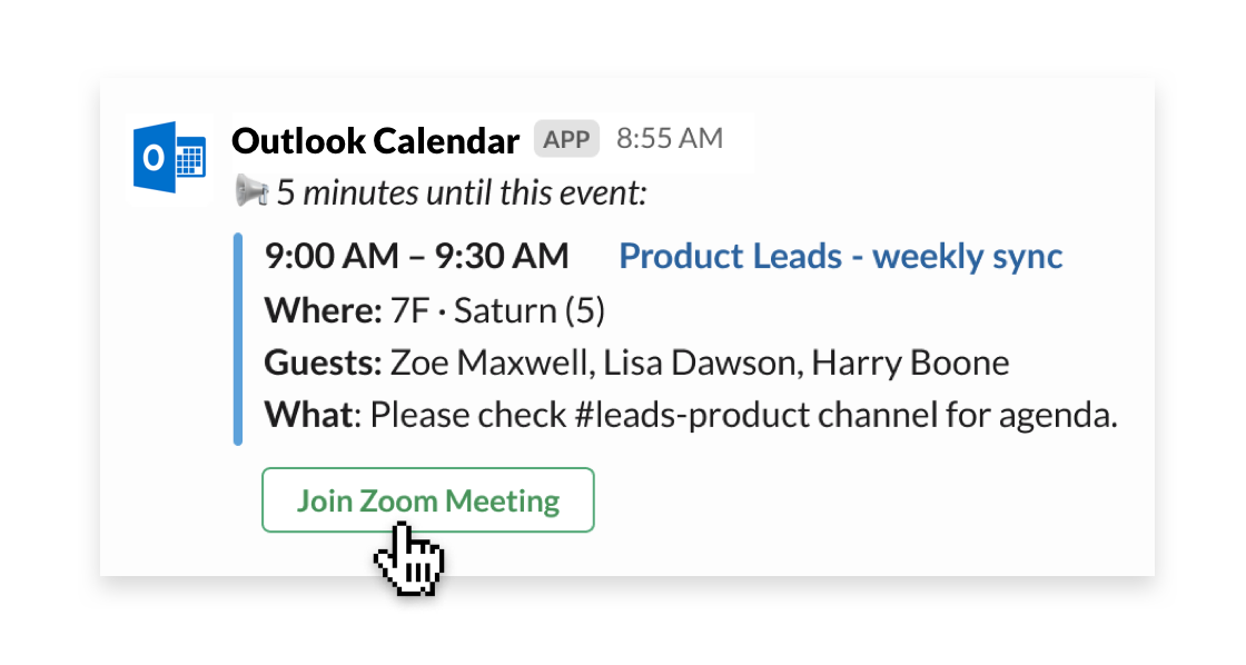 Outlook Calendar app for Slack