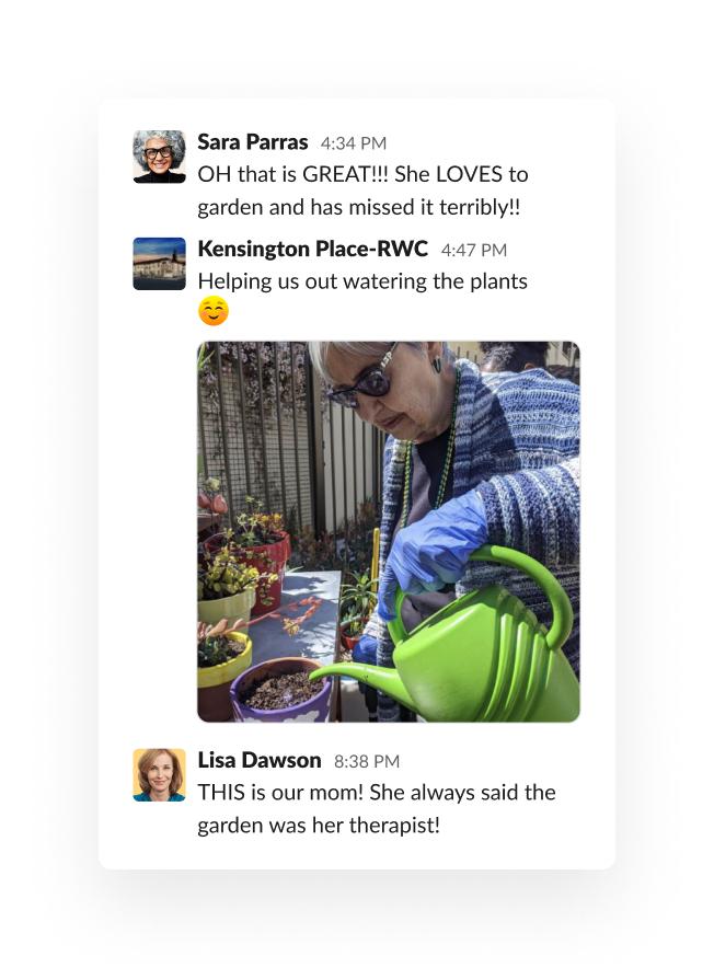 Slack thread about a client's mom enjoying her garden