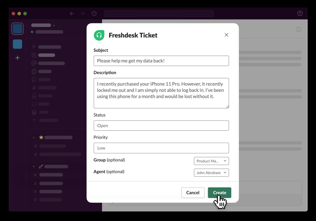 Freshdesk app UI