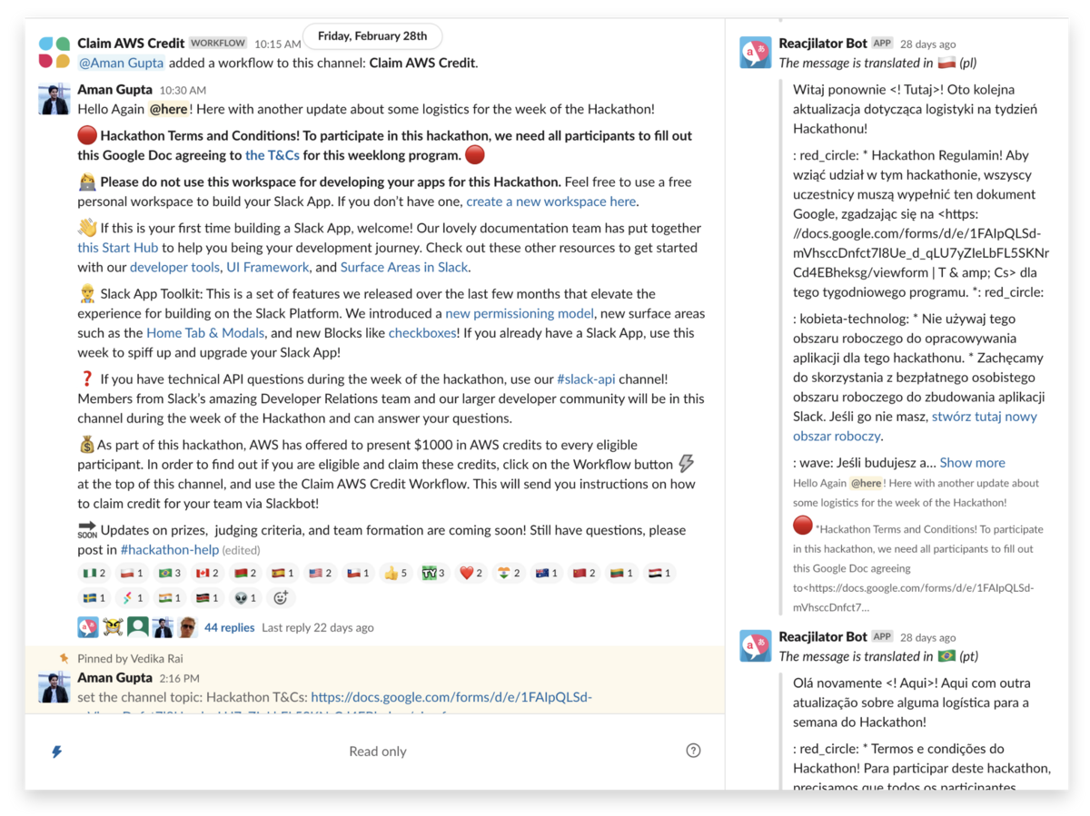 A custom translation app, built by our team, that translates any announcement message to another language whenever someone reacts to it with a country's flag emoji.
