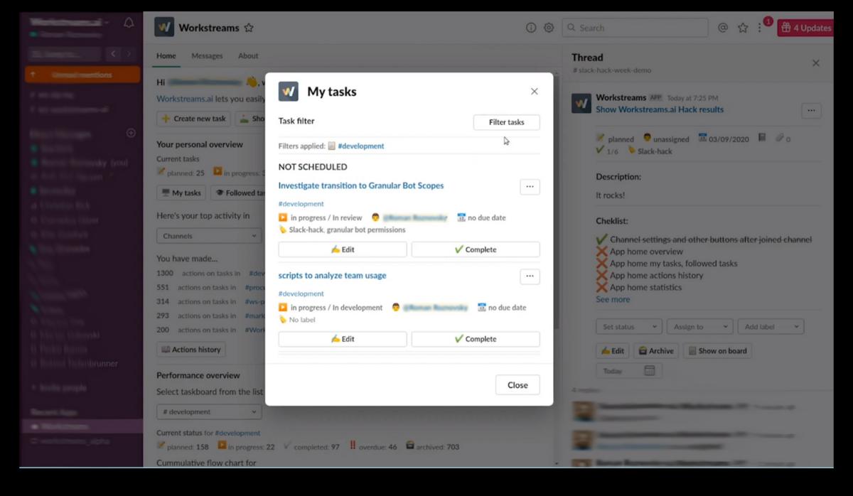 Workstreams app for Slack