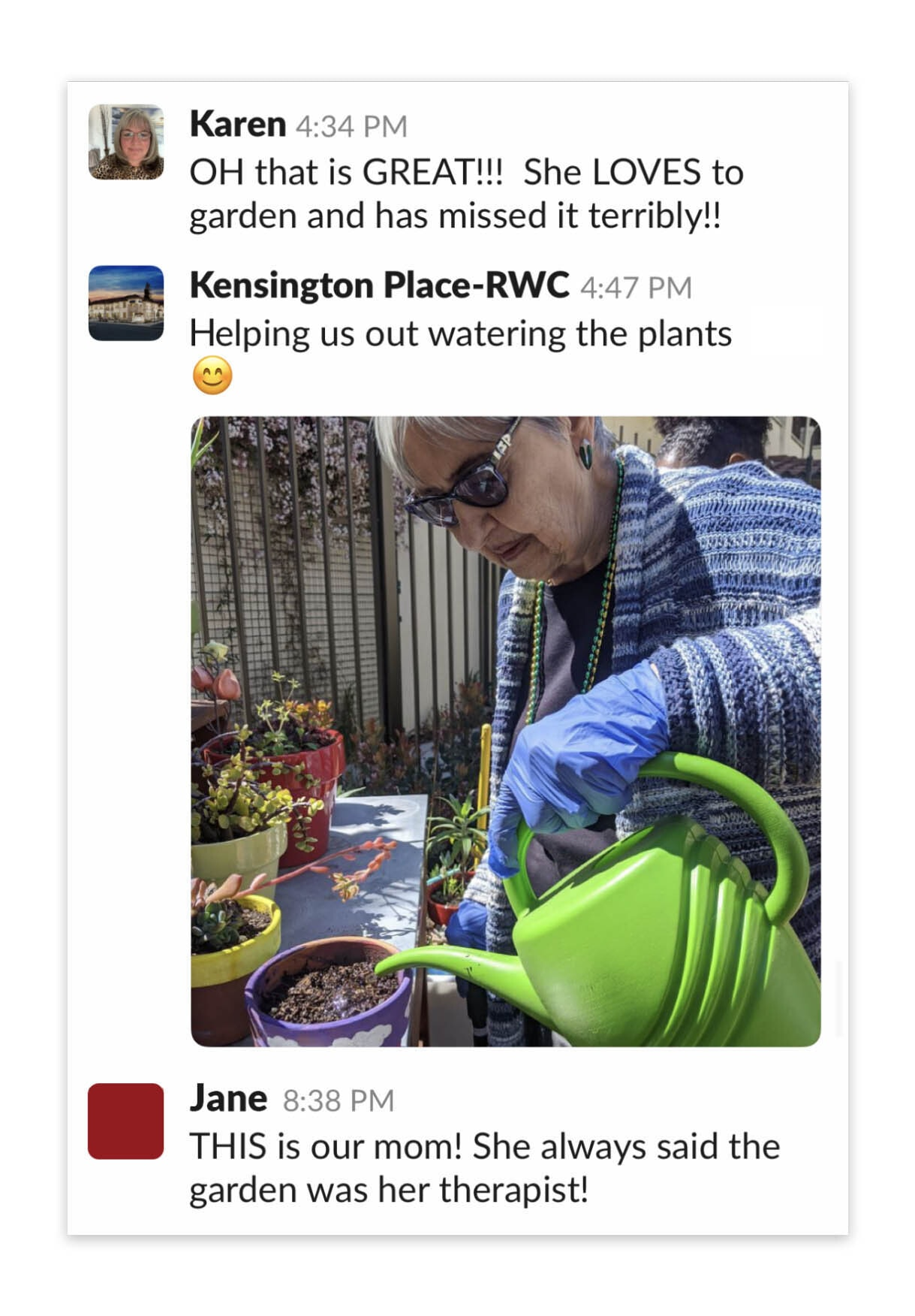 Screenshot illustrating how Kensington Place uses Slack to connect residents and families.