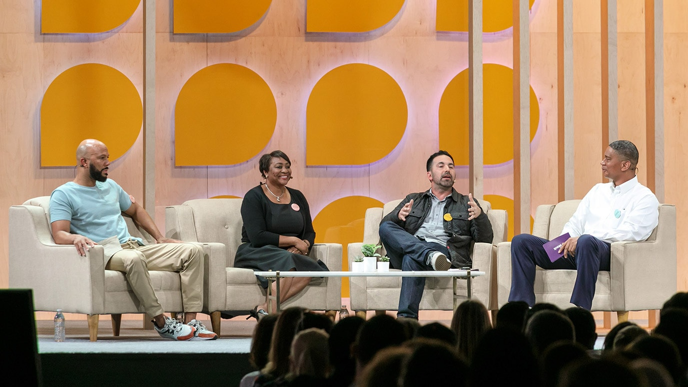 During Slack's 2019 Frontiers conference, Kenyatta Leal discusses the importance of supporting formerly incarcerated individuals with Common, Oscar and Grammy Award–winning activist and founder of Imagine Justice; La June Montgomery Tabron, President and CEO of the W.K. Kellogg Foundation; and Scott Budnick, CEO of One Community and founder of the Anti-Recidivism Coalition