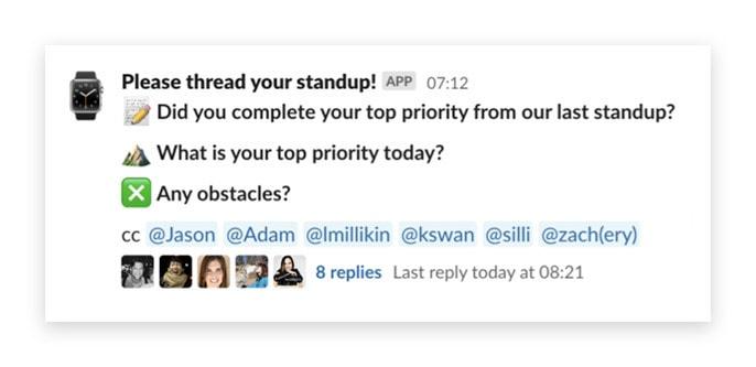 Daily standup UI