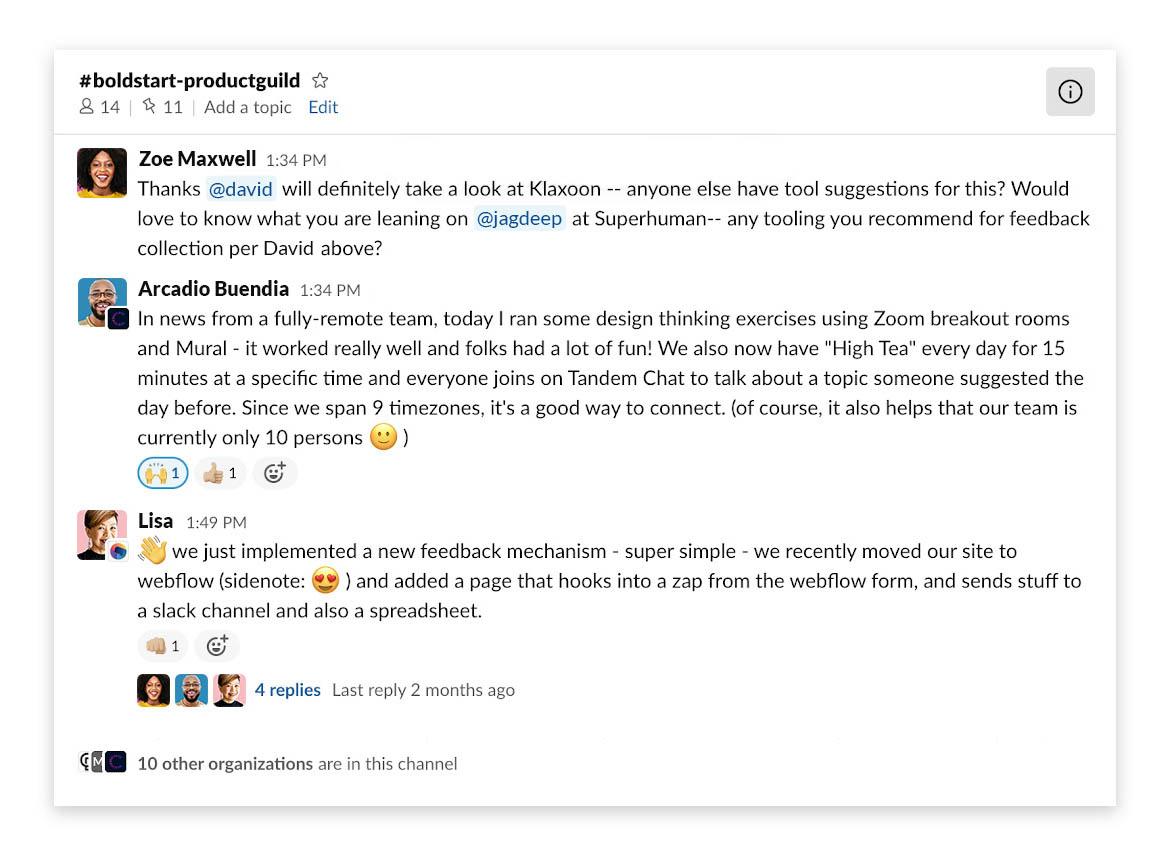 Boldstart Ventures Slack Connect channel