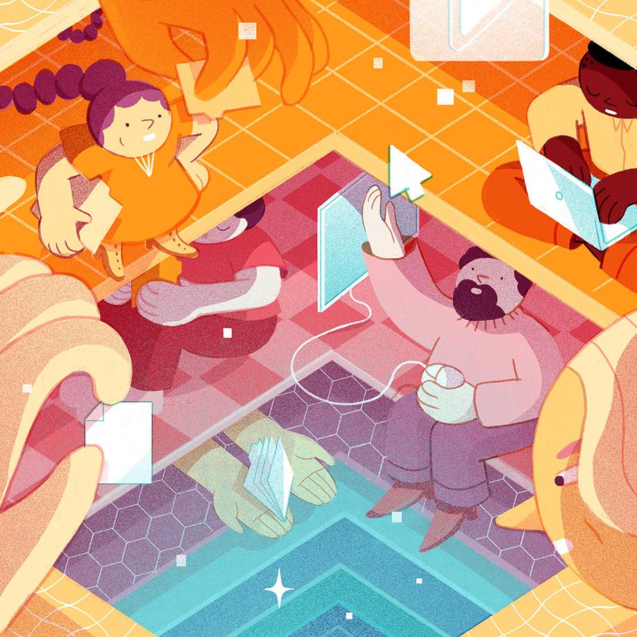 Illustration représentant des membres de plusieurs organisations collaborant au-delà des frontières de leurs entreprises.