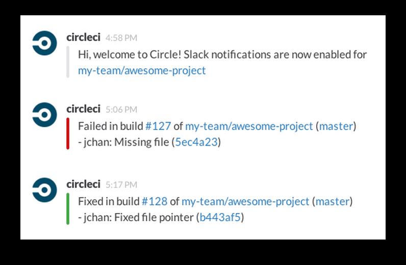 The CircleCI app for Slack