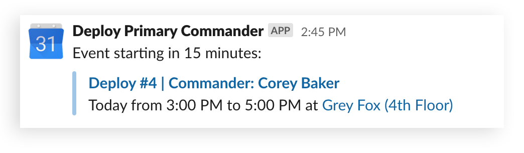 The Google Calendar app shows the shift schedule for Deploy Commanders