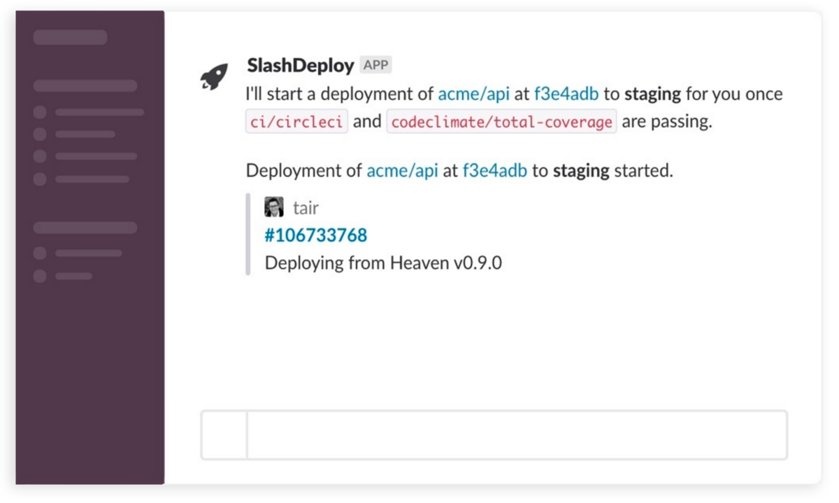 The Slash Deploy app for Slack