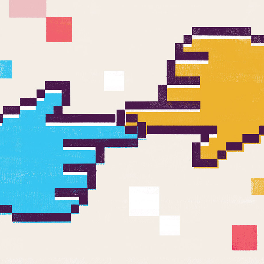 Slack rendering of two hands reaching out in a highly pixelated style