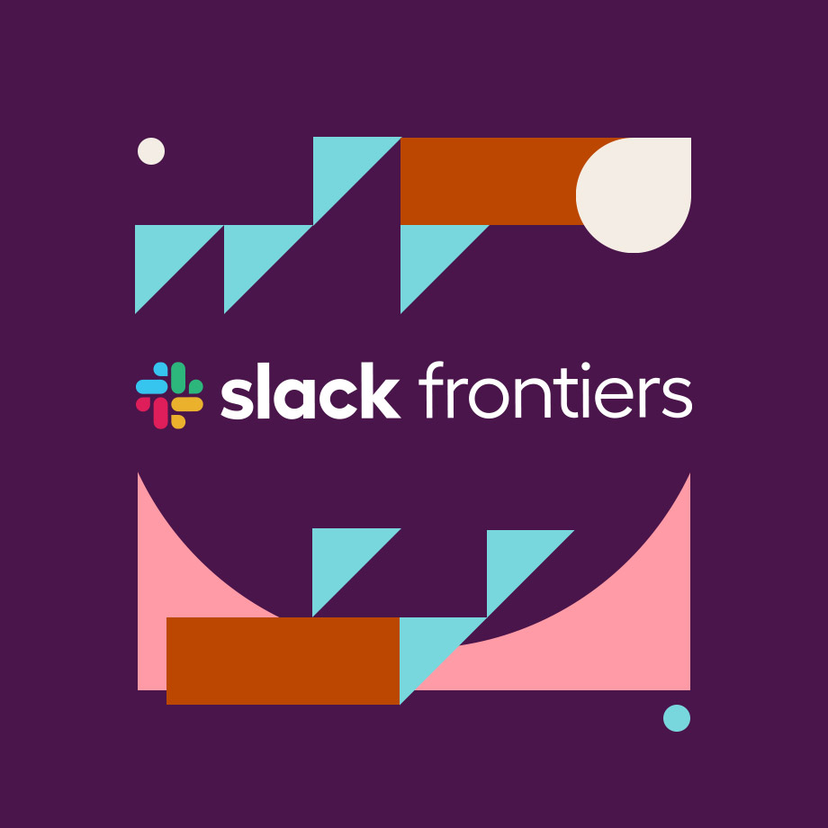 slack frontiers logo over background shapes