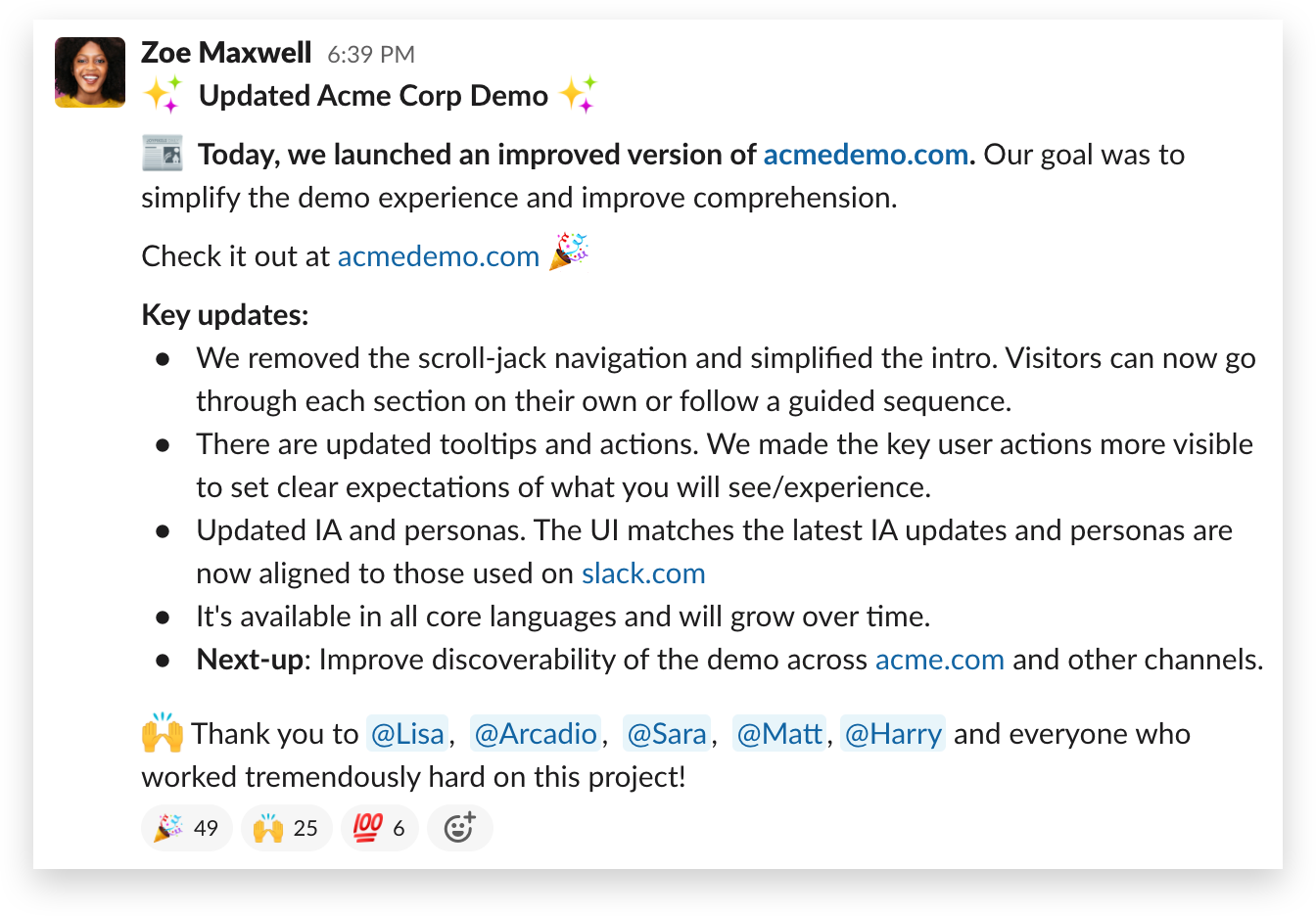 A message announcing a project launch—and thanking contributors—in Slack