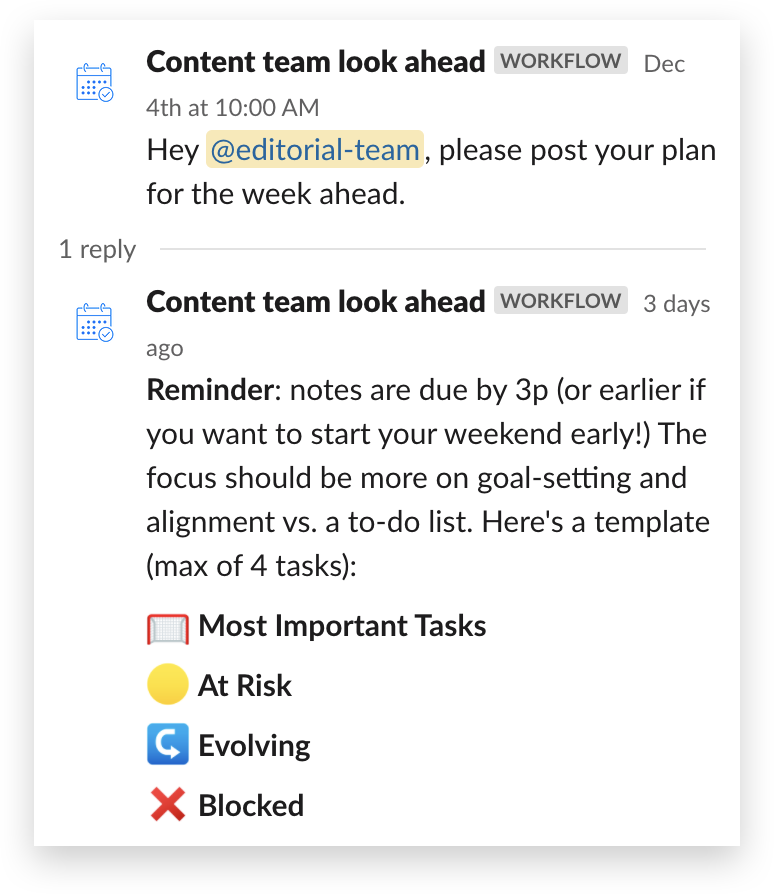 An automated workflow in Slack kicking off a team standup