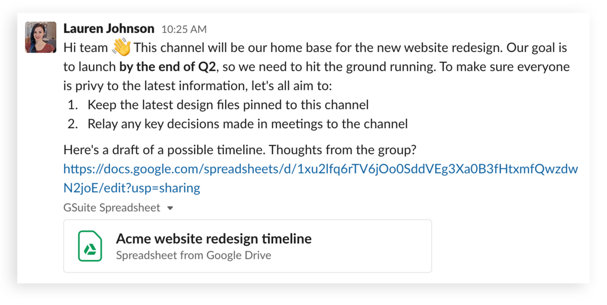 A message kicking off a project in Slack
