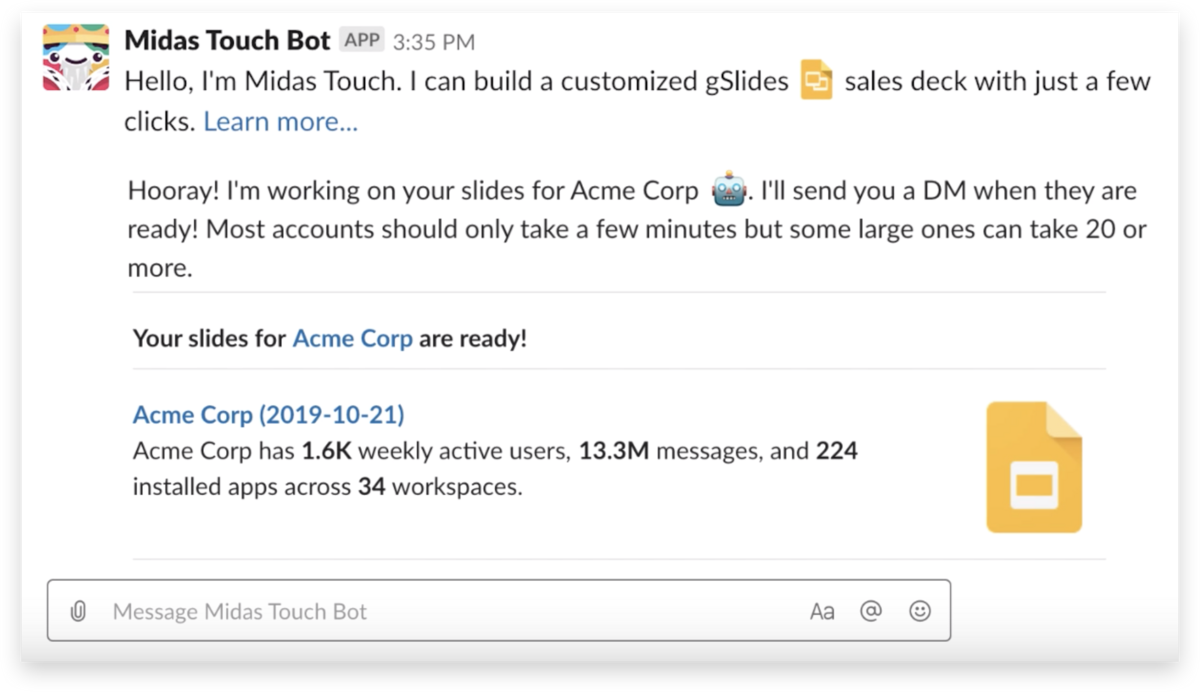 Midas Touch delivers a Google Slides deck inside a Slack channel