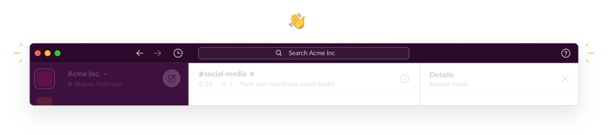 The updated navigation bar in Slack