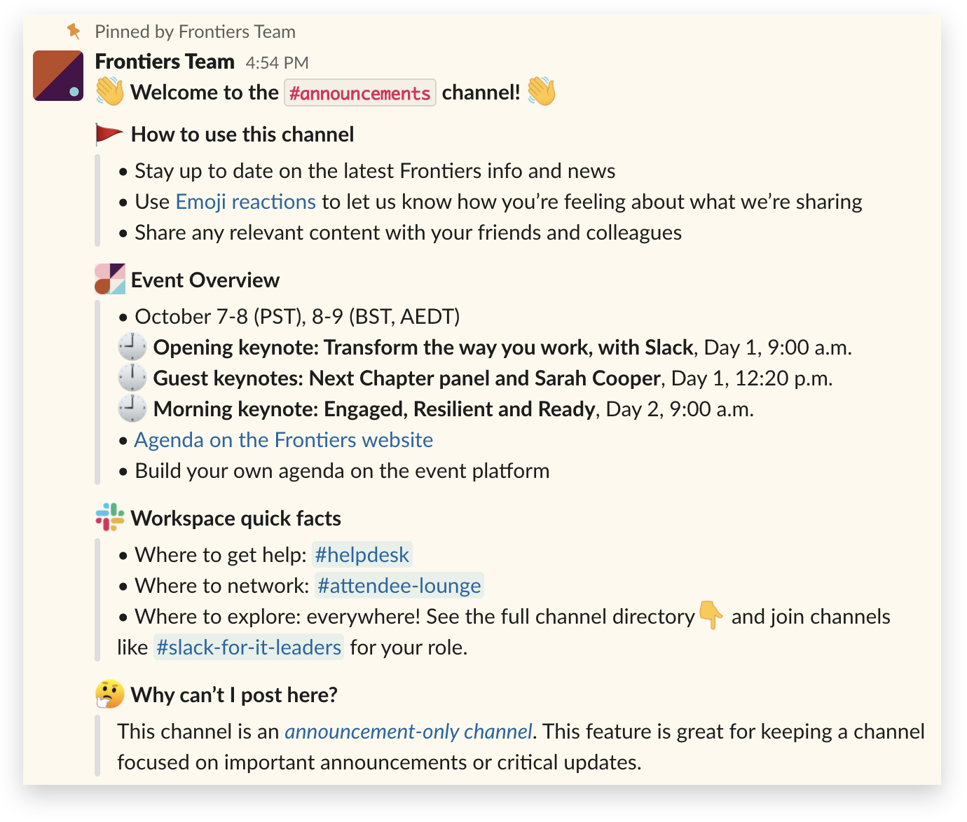 An announcement in the Slack Frontiers workspace