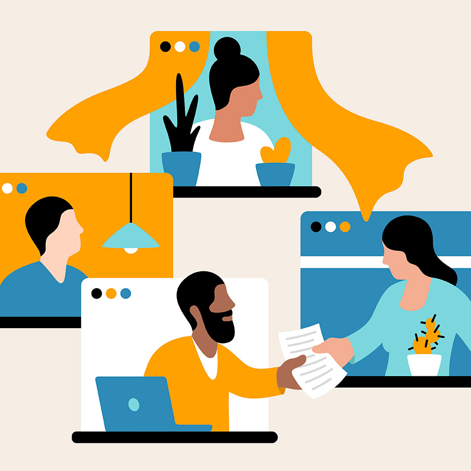 Members of different teams work together from different windows, representing Slack workspaces