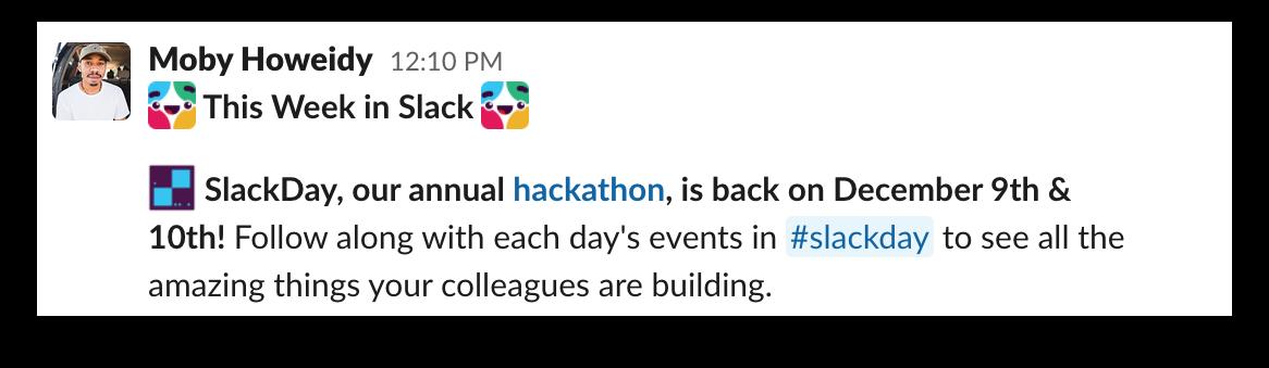 A company hackathon announcement in Slack