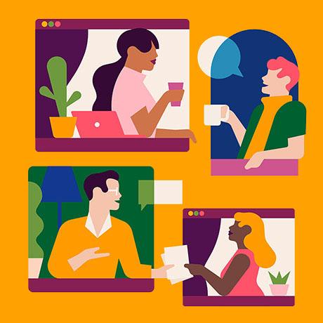 Team members communicating virtually