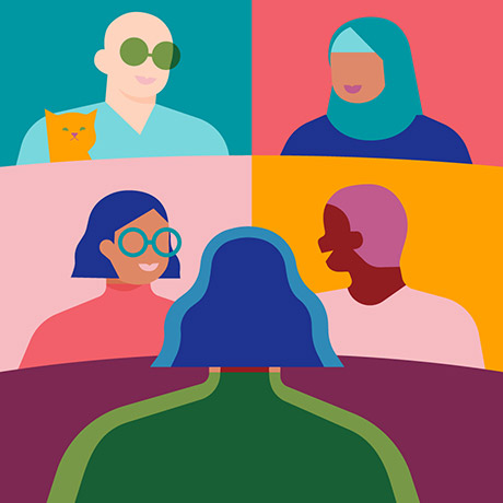 Illustration of team members in a virtual meeting on screen