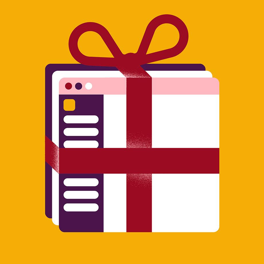 Espaces de travail Slack sous forme de cadeaux emballés