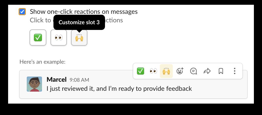 Personnalisation des réactions en un clic dans Slack