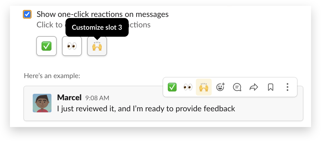 Customizing one-click reactions in Slack
